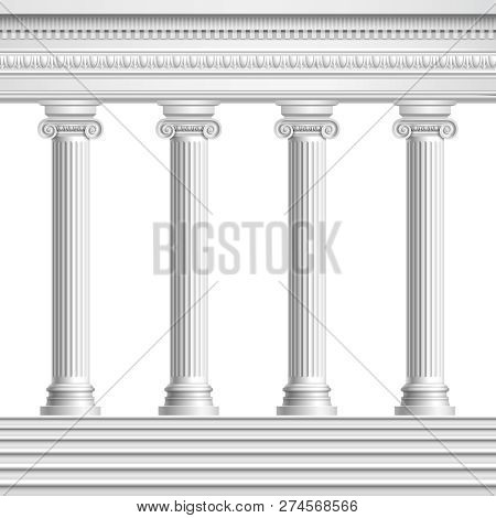 Architectural Element Colonnade From Realistic Antique Columns With Decorated Ceiling And Base With