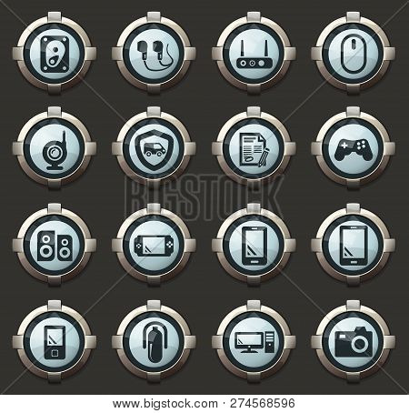Supermarket Electronic Vector Icons In The Stylish Round Buttons For Mobile Applications And Web