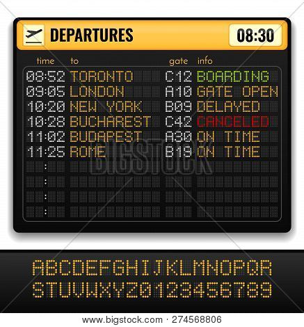 Electronic Airport Board Realistic Composition With Yellow Alphabets On Board And Departures Info Ve