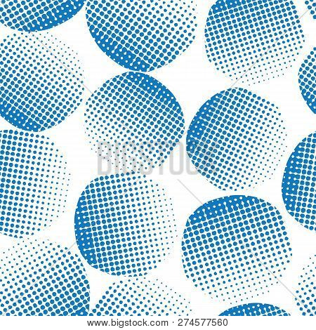 Seamless Vector Background Blue Textured Circles. Blue Dots On White Background. Abstract Geometric