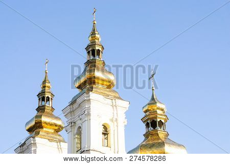 Ukraine, Vinnytsia, October 13, 2018. The Orthodox Church, The Domes Of The Temple