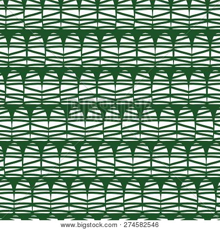 Modern Abstract Seamless Vector Pattern Design. White Half Dome Doodle Shapes On Green Background. G