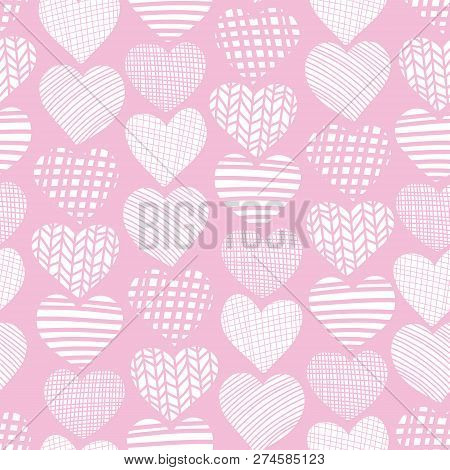 Doodle Hearts Seamless Vector Pattern. White Hearts On Pink Background. Textured Hearts Backdrop. Ha