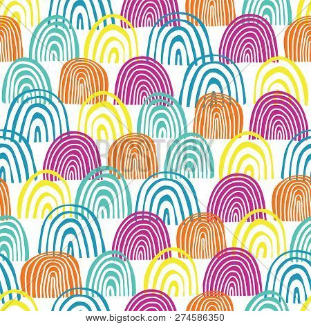 Doodle Clouds Rainbow Seamless Vector Pattern. Teal, Blue, Pink, And Orange Half Circles On White Ba