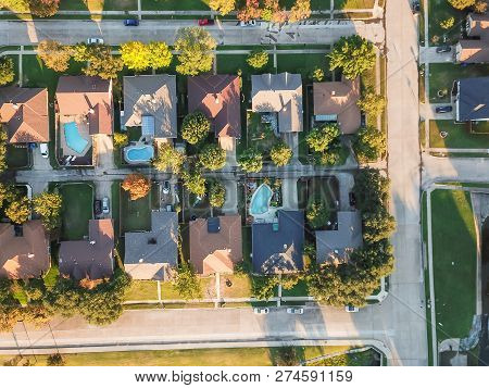 Panoramic Residential Subdivision With Swimming Pool In Fall Season Near Dallas, Texas