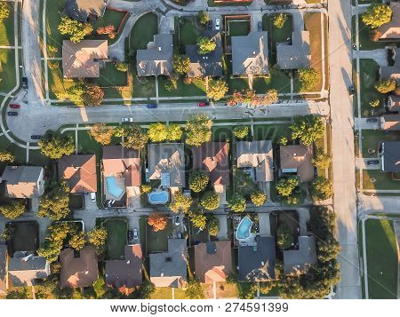 Aerial View Residential Subdivision With Swimming Pool And Dead-end Street Near Dallas, Texas