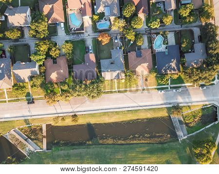 Top View Park Side Residential Dwelling Unit Swimming Pool And Local Street Near Dallas, Texas