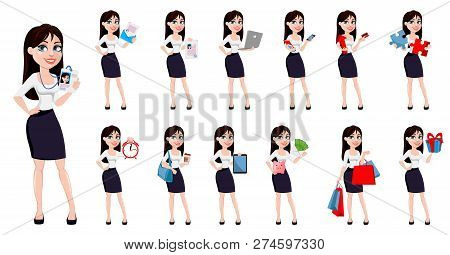Business Woman With Brown Hair, Concept Of Cartoon Character In Office Style Clothes. Set Of Thirtee