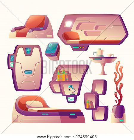 Vector Cartoon Set With Futuristic Objects For Spaceship Cockpit Isolated On Background. Furniture F