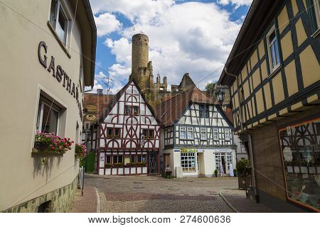 31.07.2018. Ancient Town Eppstein In Hesse, Germany.  View Of Castle Eppstein From Old Town. Histori