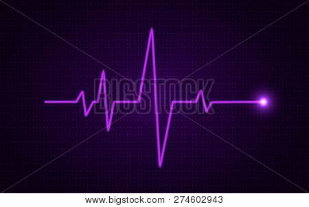 Heart Pulse Concept. Glowing Medical Line. Healthcare Background. Pulse Diagram With Bright Gradient