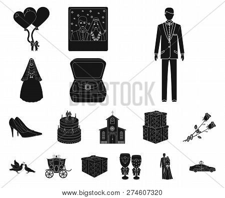 Wedding And Attributes Black Icons In Set Collection For Design. Newlyweds And Accessories Vector Sy
