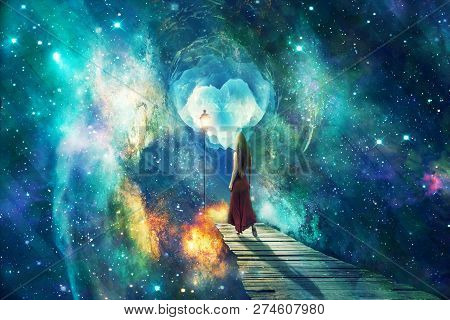Beautiful Artistic Universe With Standing Woman. Colorful Landscape With Bright Supernovas. Cyan Bea