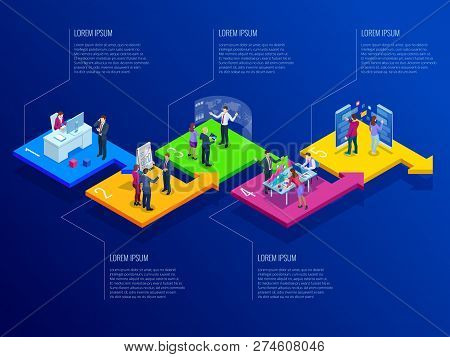 Isometric Presentation Business Infographics Template With 5 Options. Business Data Visualization, D