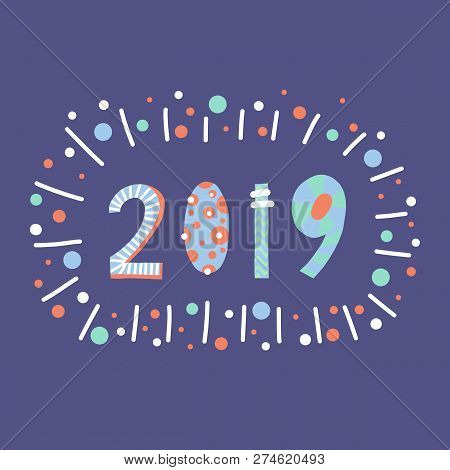 2019 Lettering Illustration Papercut Style. Flat Hand Drawn Cartoon Happy New Year Design. New Years