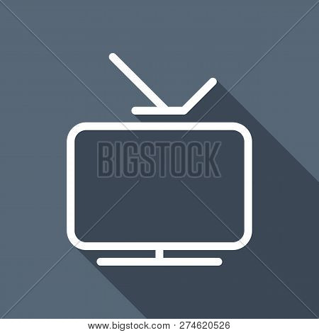 Smart Tv, Analog Television. Linear Outline Icon Of Media. White Flat Icon With Long Shadow On Blue