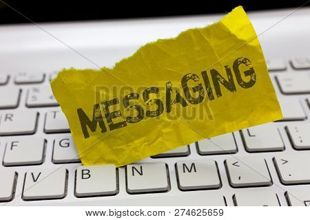 Text Sign Showing Messaging. Conceptual Photo Communication With Others Through Messages Texting Cha