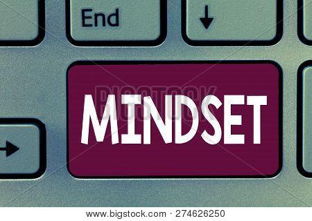 Writing Note Showing Mindset. Business Photo Showcasing Established Set Of Attitudes Held By Someone