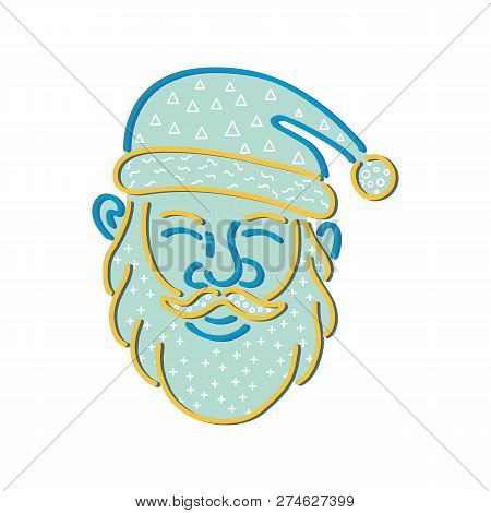 1980s Memphis Style Design Illustration Of Santa Claus, Kris Kringle Or Saint Nick Viewed From Front