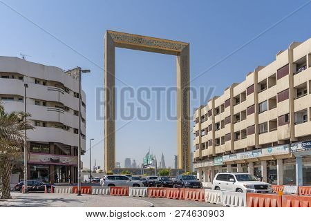 Dubai, Uae - Oct 13, 2018: View Of The Dubai Frame In Dubai, Uae. It Holds The Record For The Larges