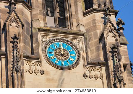 Clock On The Tower Of The Elisabethenkirche Church In The City Of Basel