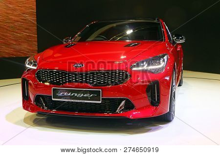 Kuala Lumpur,  Malaysia - December 1,2018 : Kia Stinger, Manufacture By Kia Motor Corporation Of Kor