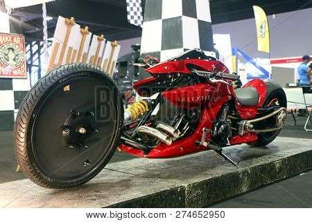 Kuala Lumpur, Malaysia-december 1,2018 : Valkyrie Motorcycle Custom Design By Kenstomoto, Displayed