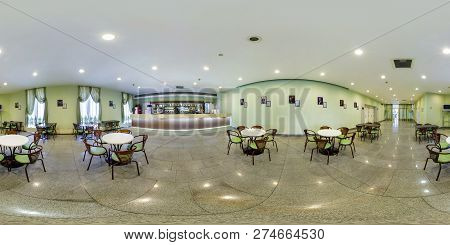 Minsk, Belarus - August 2016: Full Seamless Spherical Panorama 360 Degrees Angle View In Small Pub C