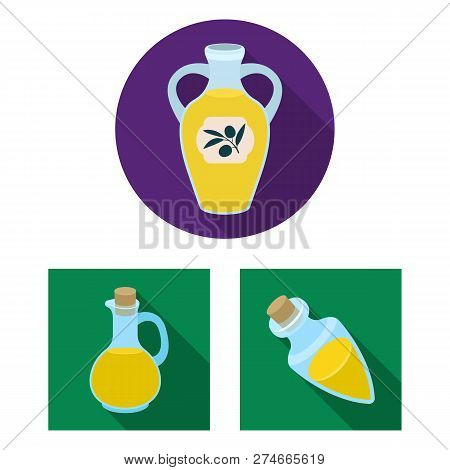 Isolated Object Of Food  And Bung Symbol. Collection Of Food  And Oil  Vector Icon For Stock.