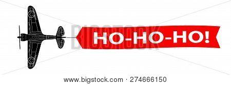 Ho-ho-ho Banner With Army Aeroplane 2019 New Year!