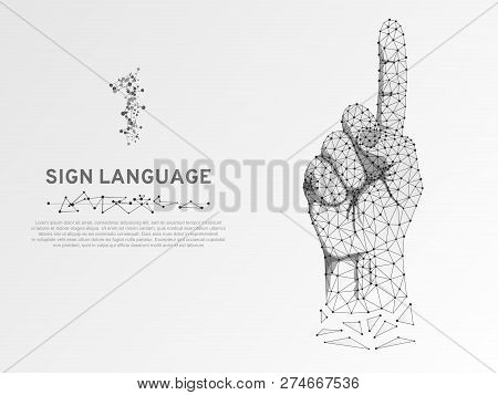 Origami Style Sign Language Number One Gesture, Low Poly Model Of Human Hand Pointing, Showing. Deaf