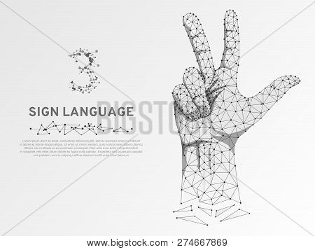 Origami Style Sign Language Number Three Gesture, Human Hand Showing Three Fingers, Polygonal Low Po