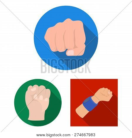 Vector Illustration Of Fist And Punch Logo. Set Of Fist And Hand Stock Symbol For Web.