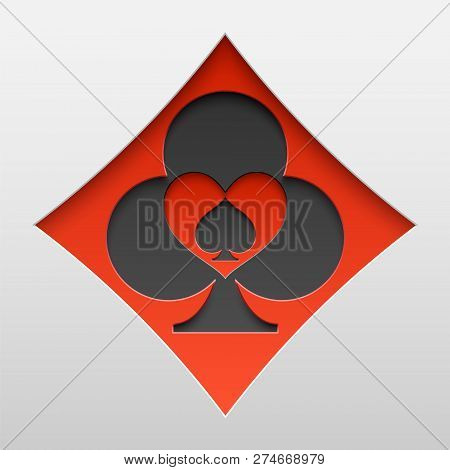 Playing Card Suit Sign Shapes Carved One In Another. Paper Art Of Card Symbols. Vector Illustration