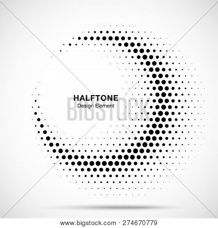 Halftone Circle Frame Abstract Dots Logo Emblem Design Element For Medical, Treatment, Cosmetic. Hal