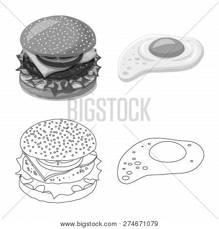 Isolated Object Of Burger And Sandwich Logo. Collection Of Burger And Slice Vector Icon For Stock.