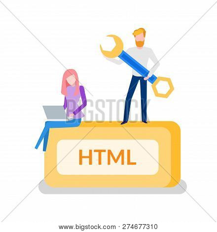 Html Programming Man Developer With Tool Instrument For Optimization Vector. Woman Working On Laptop