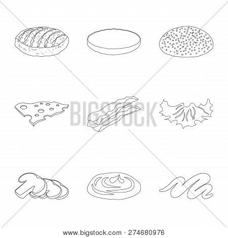 Isolated Object Of Burger And Sandwich Logo. Set Of Burger And Slice Vector Icon For Stock.