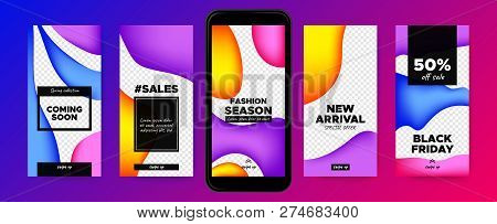 Stories Templates For Social Media. Photo Frame With Colorful Fluid Shapes. Abstract Covers Set For