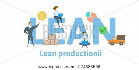 Lean Production. Concept With Keywords, Letters And Icons. Flat Vector Illustration. Isolated On Whi