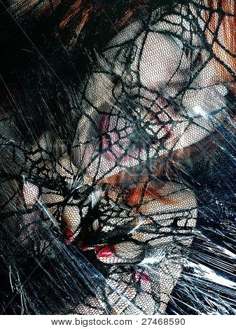 frightened woman entangled in the web