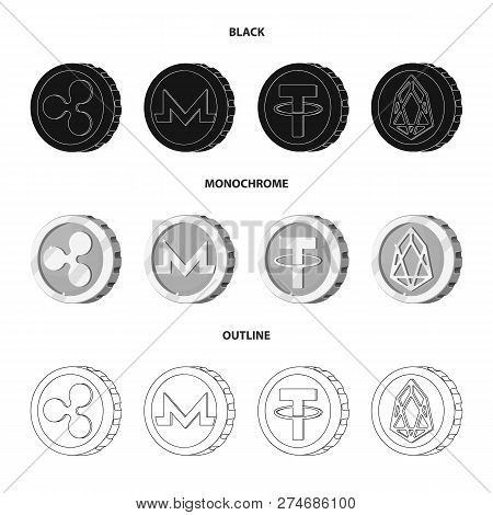 Vector Design Of Cryptocurrency And Coin Logo. Collection Of Cryptocurrency And Crypto Stock Symbol