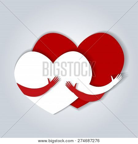 Two Hearts Hugging. Vector Illustration In Flat Style