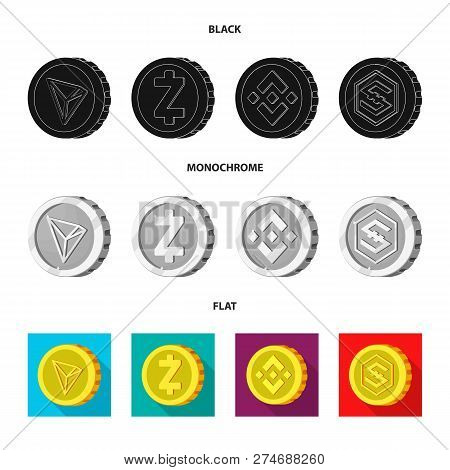 Vector Design Of Cryptocurrency And Coin Icon. Collection Of Cryptocurrency And Crypto Stock Symbol
