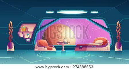 Future Space Station, Science Fiction Starship, Orbital Hotel Or Colony Room, Crew Cabin Interior Ca