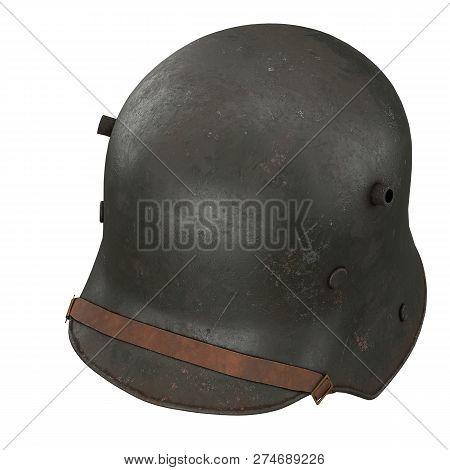 German Helmet Stahlhelm M1916 Of World War I, Used German Troops Ww1. Perspective View. Authentic So