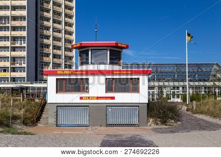 Fehmarn, Germany - September 30, 2018: A Lifeguard Hut At The South Beach On The Island Fehmarn