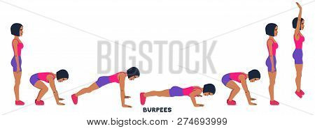 Burpee. Burpees. Sport Exersice. Silhouettes Of Woman Doing Exercise. Workout, Training Vector Illus