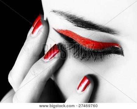nice manicure and a beautiful girl eye