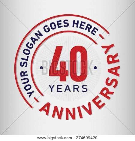 40 Years Anniversary Logo. 40th Vector And Illustration.